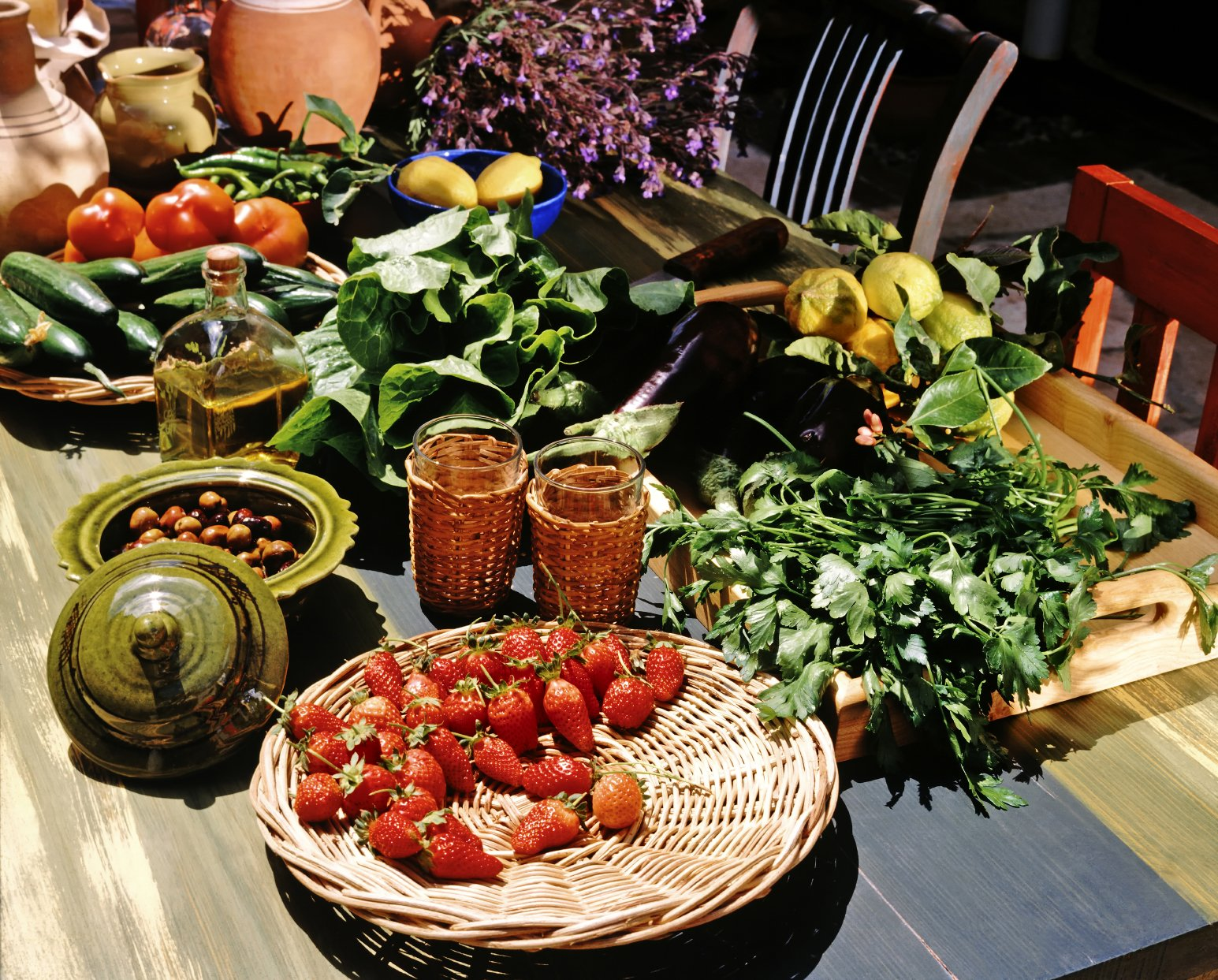 Mediterranean still life with healthy food ingredients