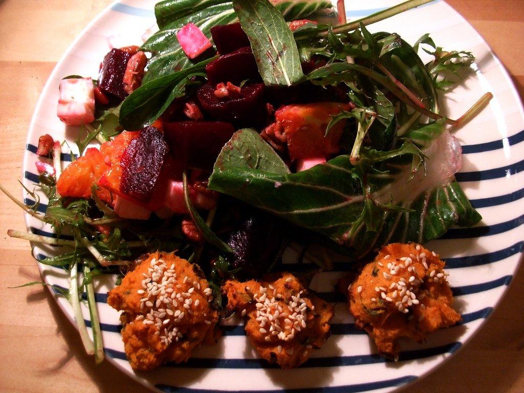 Roast beetroot salad and sweet potato falafel