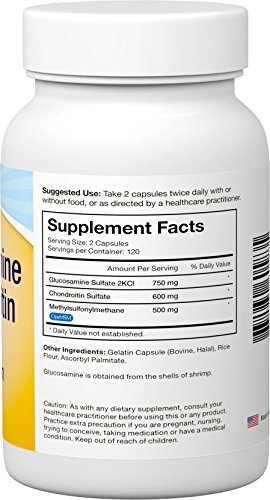 Viva Labs TRIPLE STRENGTH Glucosamine, Chondroitin and MSM, GUARANTEED  Joint Agony Relief, 240 Capsules