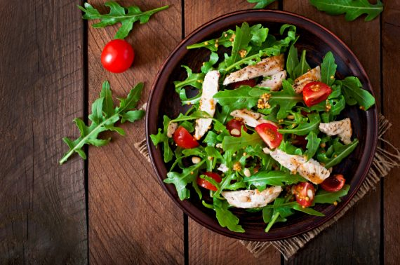 chicken breast, arugula and tomato salad