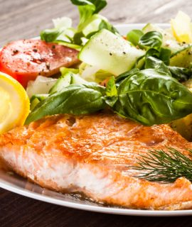 roasted salmon and fresh vegetables