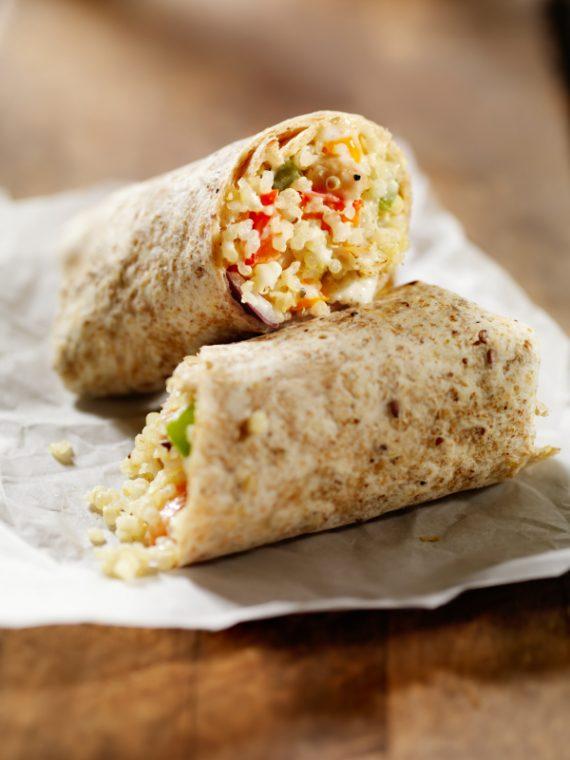 creamy quinoa veggie wrap
