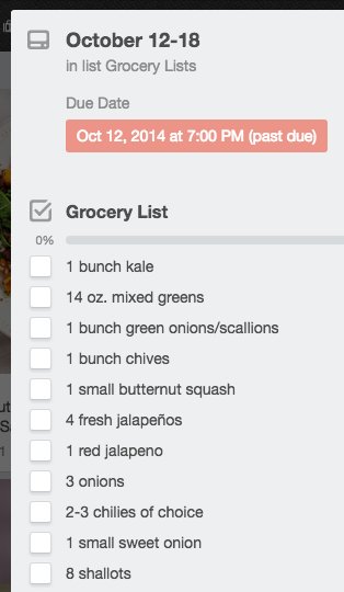 weekly grocery checklist on trello