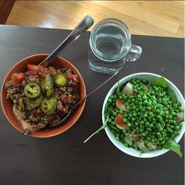 a bowl of meat and a bowl of peas. photo by alex g
