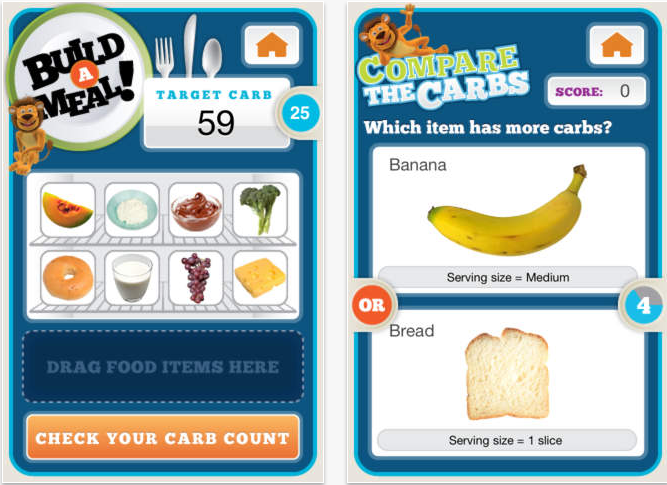 lenny the lion screenshots of build a meal and compare the carbs game